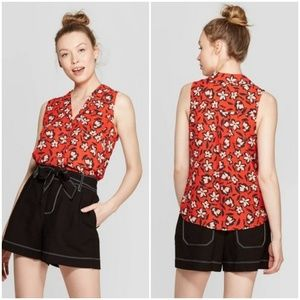 Who What Wear Red Floral Print Sleeveless Shirt